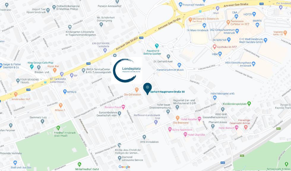 Google Maps Ausschnitt, Praxis Landeplatz eingezeichnet