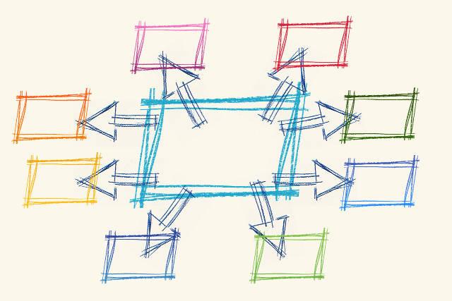 Buntes Netzwerk-Diagramm. Bild von Gerd Altmann, Pixabay